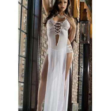 Cheap Sexy V Neck Splits Design Hollow-out White Polyester Babydoll Dress+Thong