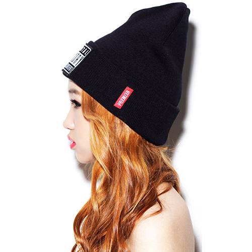 Cheap Causual Letters Print Black Knitting Baseball Hat