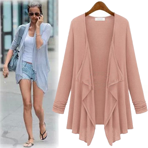 Cheap Casual Long Sleeves Pink Cotton Blend Regular Cardigan Sweater