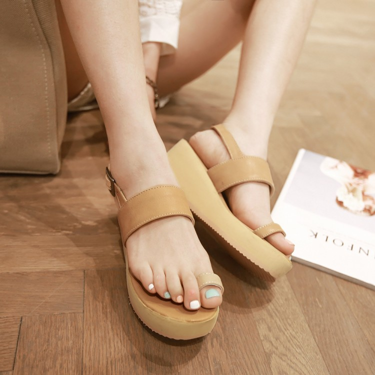 Cheap Fashion Clip Toe Wedge Mid Heel Apricot PU Ankle Strap Sandals