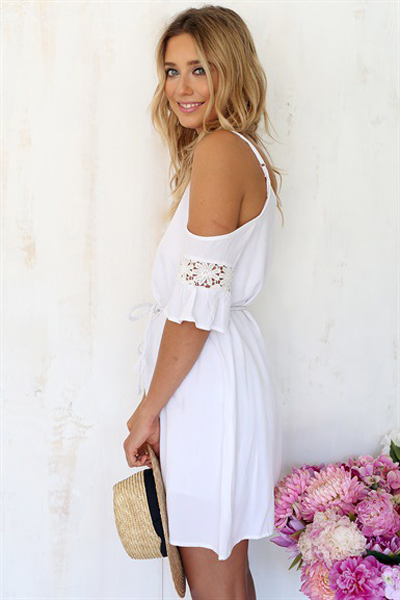 Cheap Fashion O Neck Spaghetti Strap Short Sleeve A Line Mini Dress
