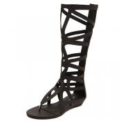 Fashion Clip Toe Hollow-out Flat Low Heel Black PU