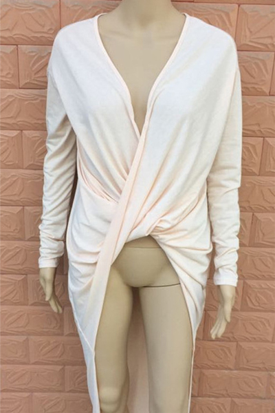 Cheap Sexy V Neck Long Sleeves Kahki Polyester A Line Mini Dress