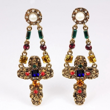 Cheap Fashion Rhinestone Embellished Floral Cross Shaped Metal Earring