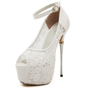 Cheap Fashion Round Peep Toe Hollow-out Lace Patchwork Platform Stiletto Super High Heel White PU Ankle Strap Pumps