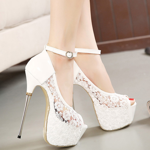 Cheap Fashion Round Peep Toe Hollow-out Lace Patchwork Platform Stiletto Super High Heel White PU Ankle Strap Pumps