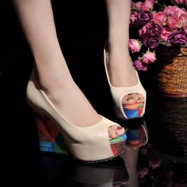 Cheap Fashion Round Peep Toe Chunky High Heels Beige PU  Pumps