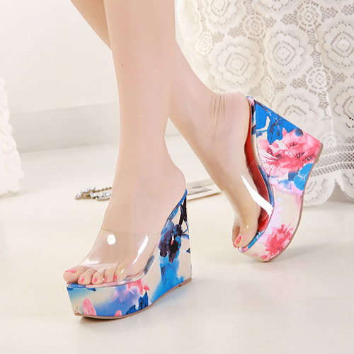 Stylish Print Wedge Super High Heel Blue PU Slides