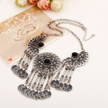 Cheap Fashion Engraved Hollow-out Coin Tassel Shaped Black Metal Necklace