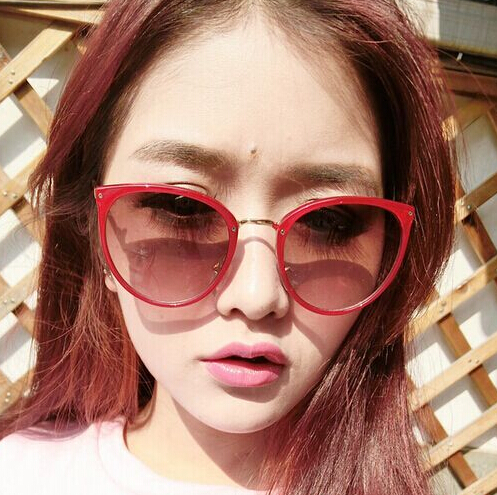 Fashion Wine Red Cateye PC Sunglasses