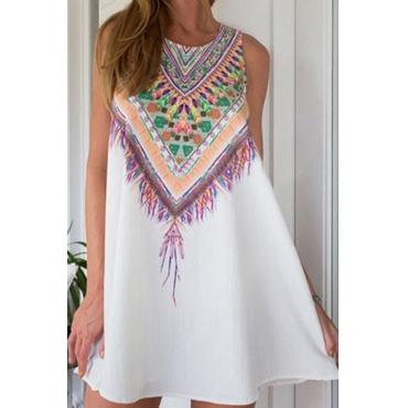 Elegante cuello O cuello mangas Colorido impresión mezcla de algodón blanco una línea de mini vestidos