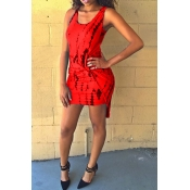 Fashion O Neck Tank Sleeveless Red Blending Sheath