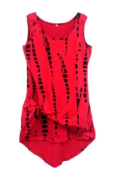 Fashion O Neck Tank Sleeveless Red Blending Sheath Mini Womens Dress