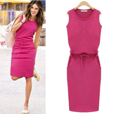 Fashion O Neck Tank Sleeveless Rose Blending Mini Dress