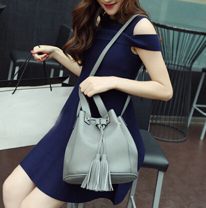 Women Fashion String Tied Solid Grey PU  Clutches Bag