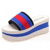 Fashion Patchwork Wedge High Heel Blue PU Slingbac