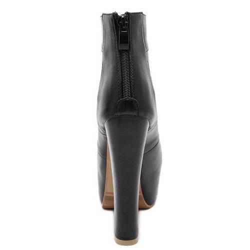 Fashion Round Peep Toe Cut-out Platform Chunky Super High Heel Black PU Basic Pumps
