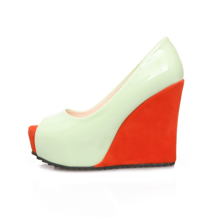 Fashion  Round  Peep Toe Super High Wedges Green PU Pumps
