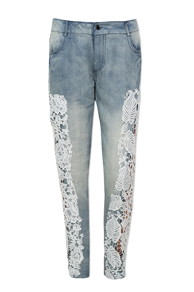 Fashion Button Fly Mid Blue  Denim Pants