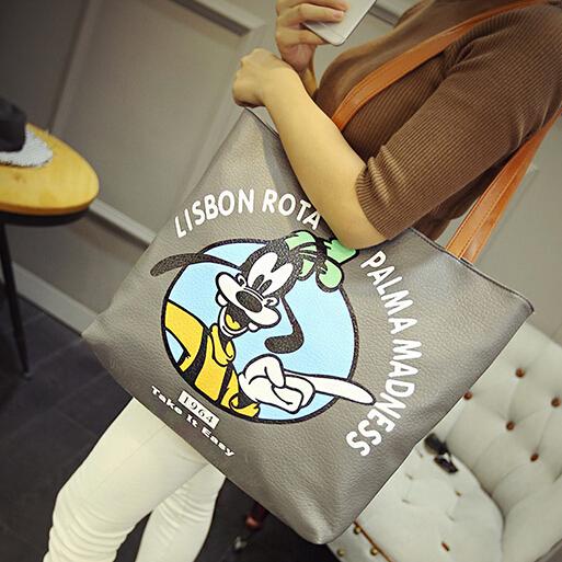 Fashion Zipper Design Cartoon Character Print Patchwork Grey PU Clutches  Bag