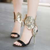Fashion Hollow-out Butterfly Embellished Stiletto