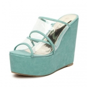 Fashion Super High Wedge Blue PU Slides Sandals
