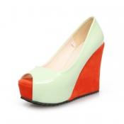 Fashion Round Peep Toe Super High Wedges Green PU