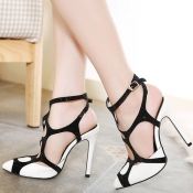 Fashion Stiletto High Heels White PU Sandals
