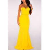 Bohemian Off The Shoulder Sleeveless Yellow Polyes