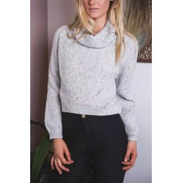 Fashion Turtleneck Long Sleeves Grey Blending Regular Pullover Sweater