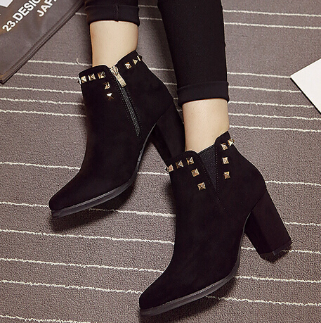 Spring Autumn Pointed Toe Zipper Design Rivets Decorated Chunky High Heel Black PU Ankle Martens Boots