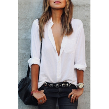 Casual Turndown Collar Long Sleeves Single-breasted White Polyester Shirt