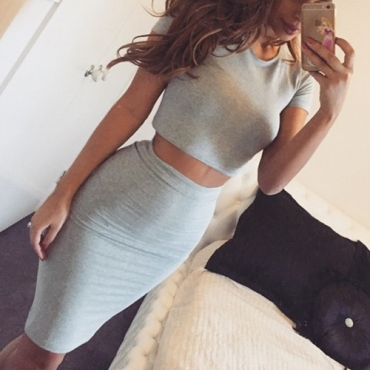 Sexy O Neck Short Sleeves Solid Grey Cotton Blend Two-piece Skirt Set