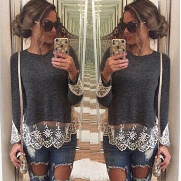 Fashion O Neck Long Sleeves Lace Trim Patchwork Grey Blending T-shirt
