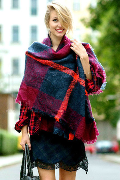 Celebrity Fashion Plaids Print Scarf