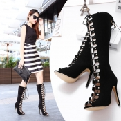 Fashion Round Peep Toe Hollow-out Lace-up Stiletto