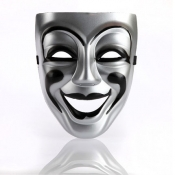 Fashion Smiley Face Silver PVC Mask