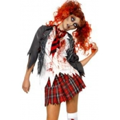 Halloween Polyester School Girl Zombie Cosplay Cos