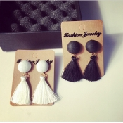 Fashion Tassel Shaped White Metal Earrings