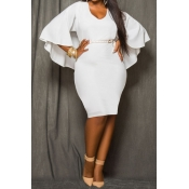 Sexy V Neck Long Bat Sleeves Back Cut-out White Po