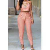 Fashion O Neck Sleeveless Pink Silky Two-piece Pan