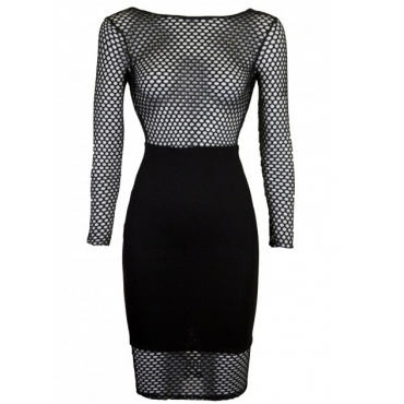 Sexy Long Sleeves Fishnet Hollow-out Patchwork Black Polyester Sheath Knee Length Dress