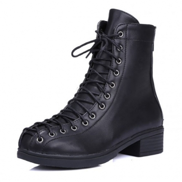 Spring Autumn Fashion Round Toe Lace-up Chunky Mid Heel Black PU Ankle Martens Boots