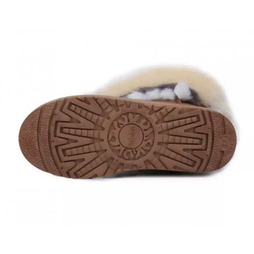 Deslizamento Decorado De Penas De Sapato De Moda De Inverno-on Flat Low Heel Khaki PU Mid Calf Snow Boots