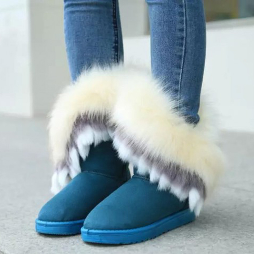 Winter Fashion Round Toe Feathers Decorated Slip-on Flat Low Heel Blue PU Mid Calf Snow Boots