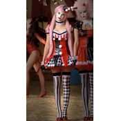 Sexy Patchwork Polyester Halloween Clown Cosplay C