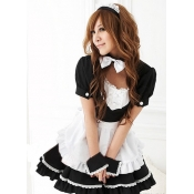 Sexy Patchwork Polyester Halloween Maid Cosplay Co