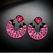 Fashion Letters Diamond Shaped Acrylic Earrings