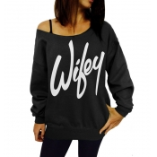 Casual Long Sleeves Letters Print Black Cotton Blend Regular Pullover Sweat
