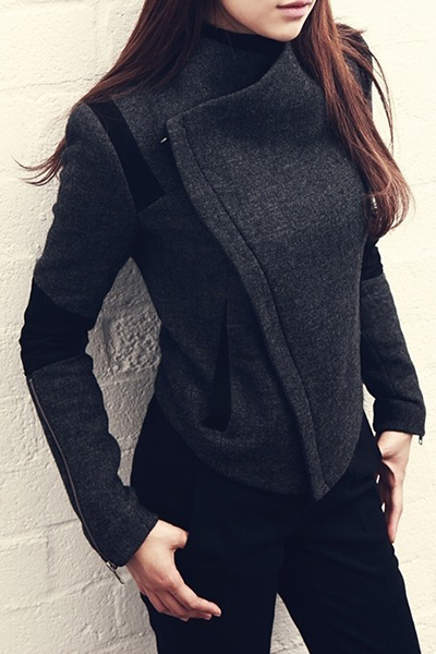 Fashion Turndown Collar Long Sleeves Zipper Design Deep Grey Cotton Blend Regular Jacket